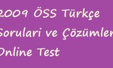 2009 ÖSS Türkçe Soruları ve Çözümleri Online Test