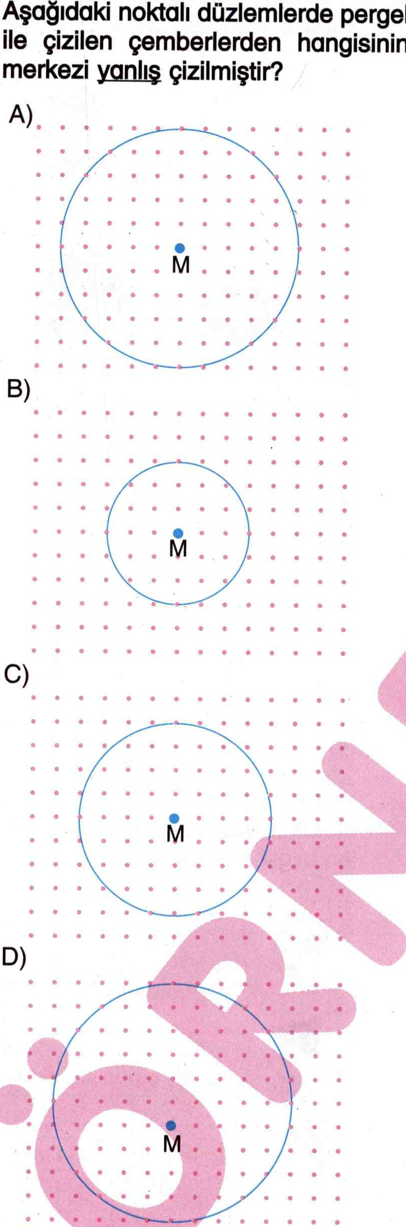 Çemberin merkezi ile ilgili soru