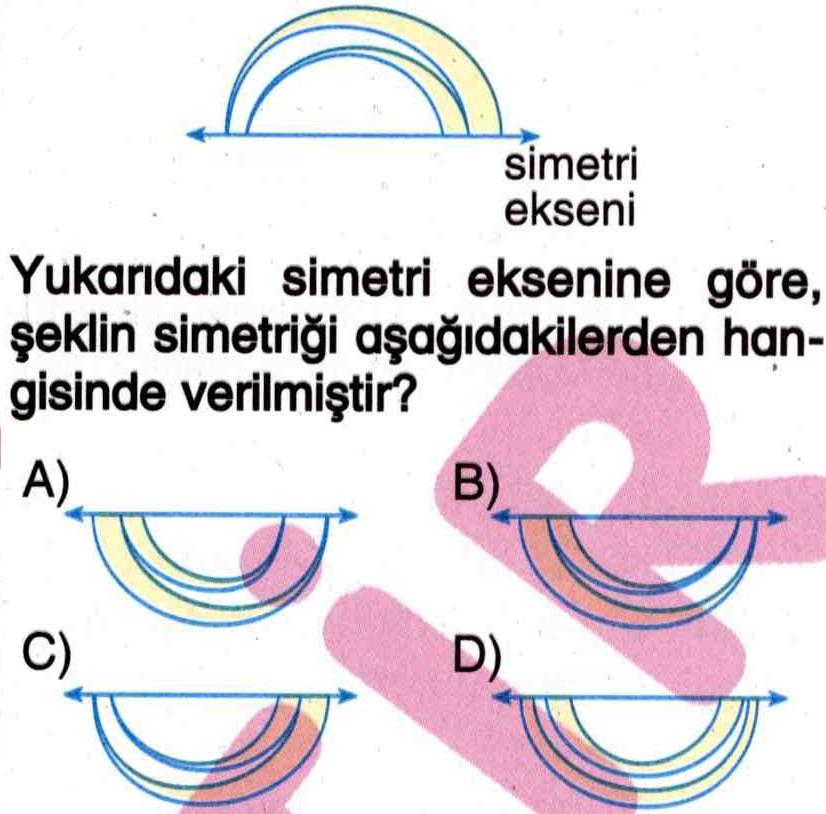 Şekillerde simetri ile ilgili soru