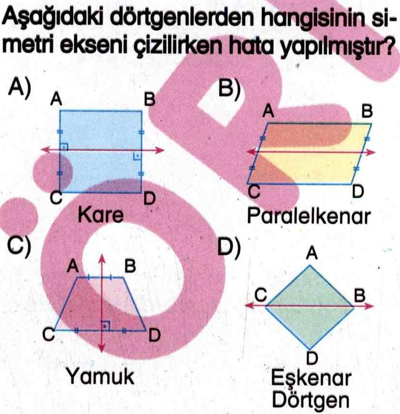 Şekillerdeki simetri ekseni yanlış çizilenler ile ilgili soru