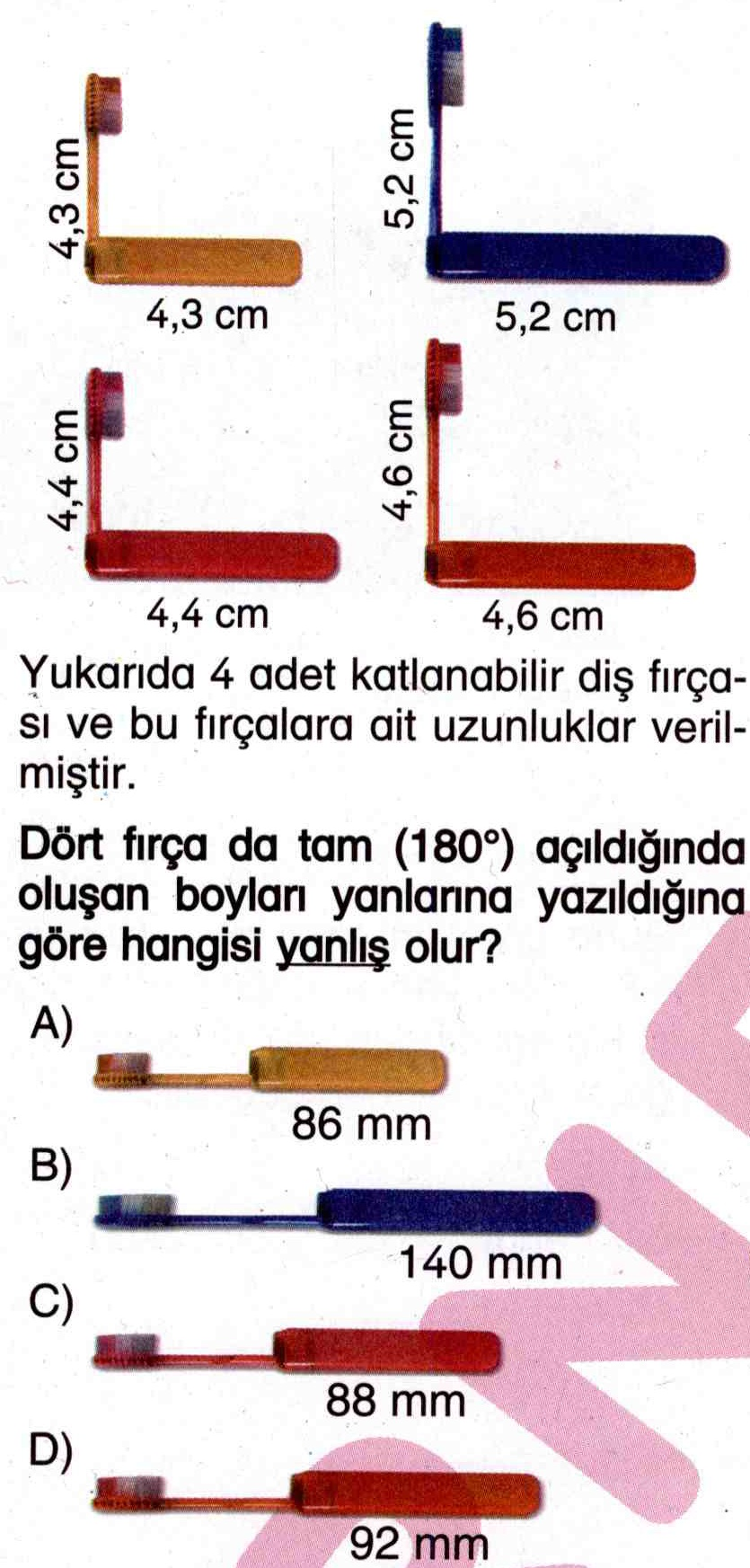 4 farklı boydaki fırçanın uzunluklarının hesaplanması ile ilgili soru
