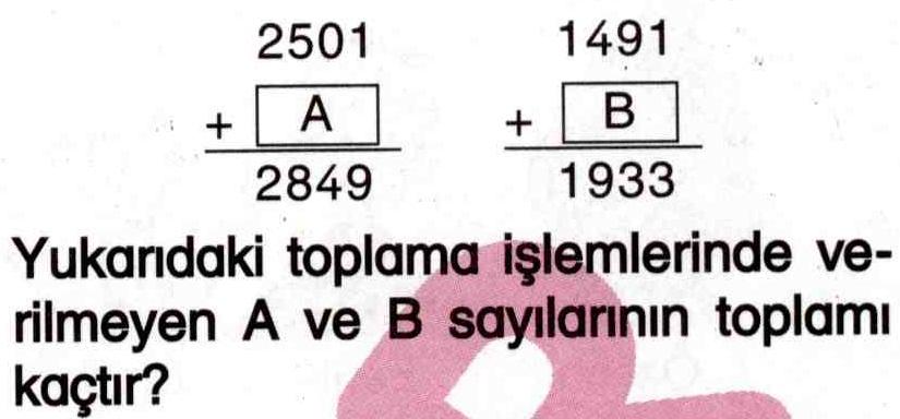 Bilinmeyen sayılarla toplama işlemi ile ilgili soru