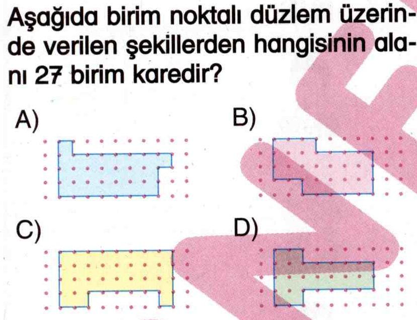 Birim noktalı düzlem üzerinde alan hesaplama ile ilgili soru