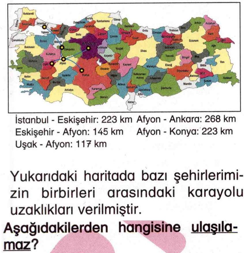 Haritaya göre iki şehir arası mesafe hesaplama ile ilgili soru