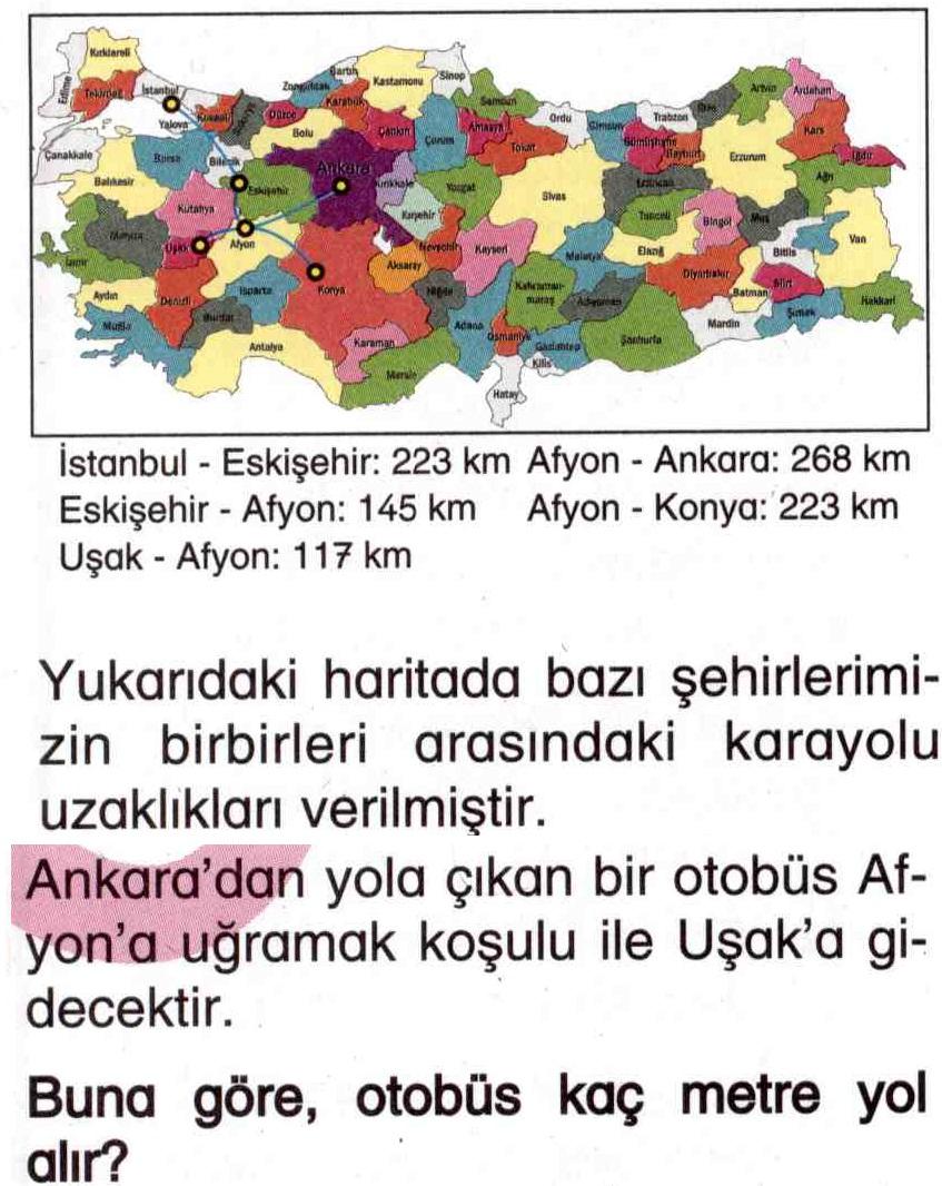 Haritaya göre iki şehir arası otobüs mesafesi hesaplama ile ilgili soru