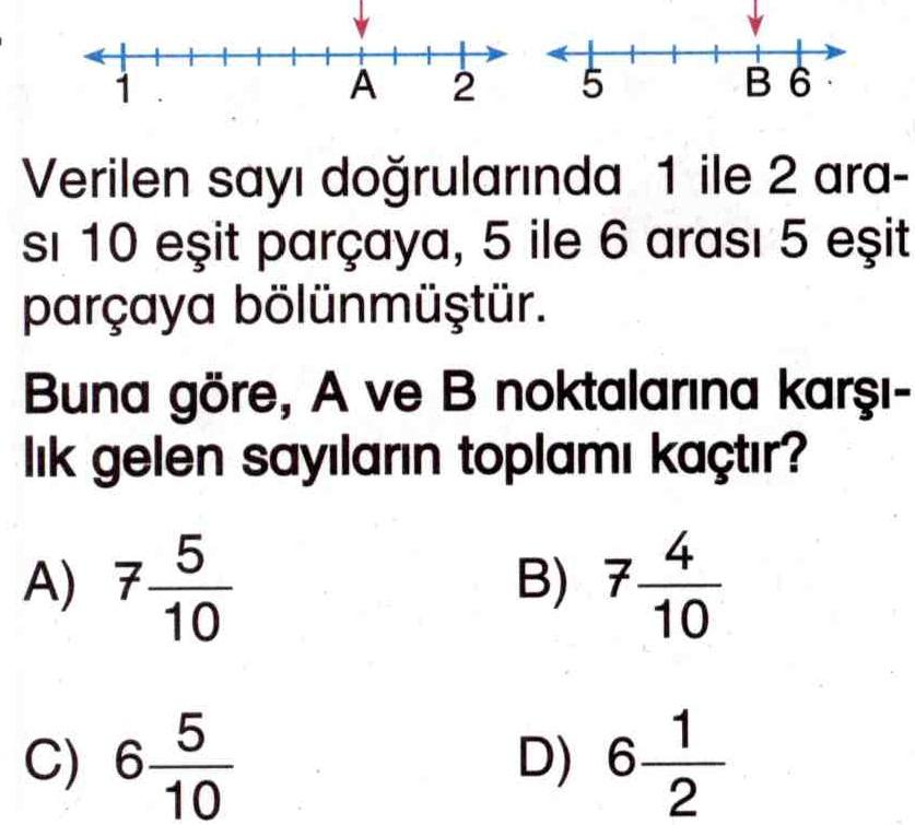 Kesirlerin sayı doğrusu üzerinde sıralanışı ile ilgili soru