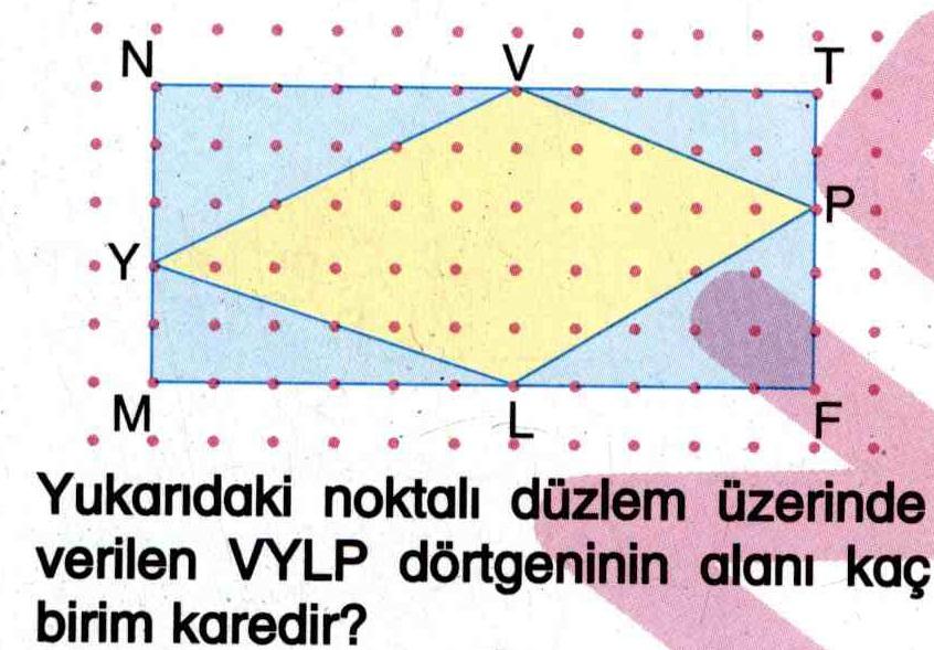 Noktalı düzlem üzerinde dörtgen şeklin alanını hesaplama ile ilgili soru