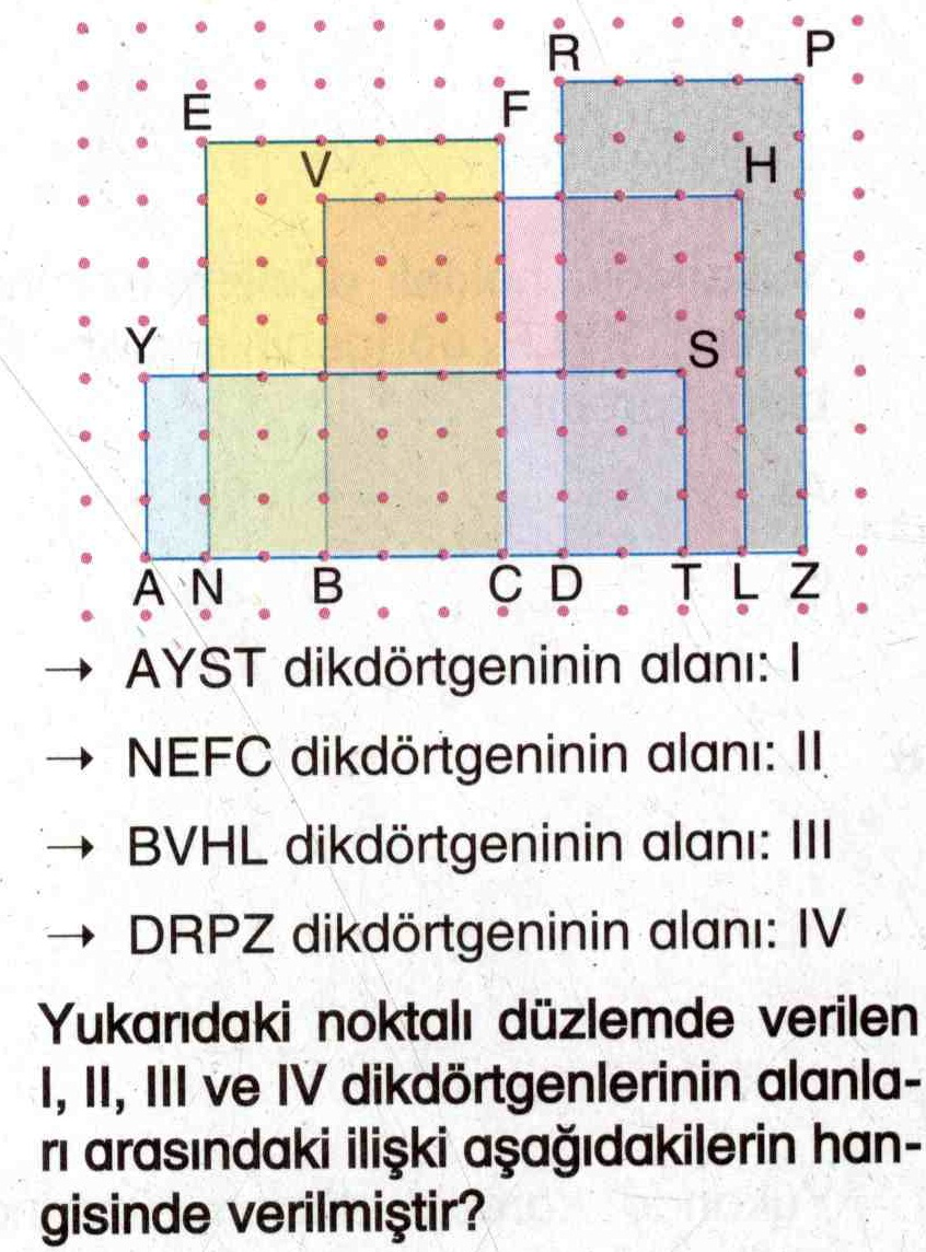 Noktalı düzlem üzerinde dikdörtgen şekillerin alanlarını hesaplama ile ilgili soru