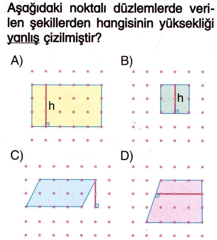 Noktalı düzlemdeki şekillerin yüksekliği ile ilgili soru
