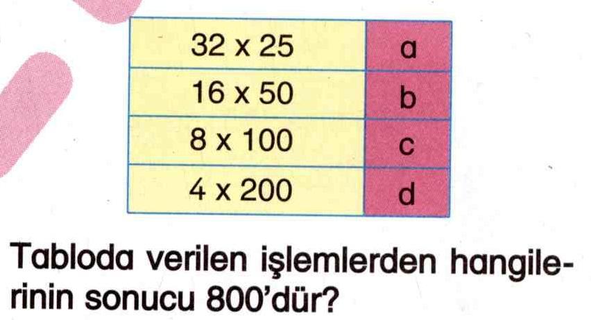 Sonucu 800 olan çarpma işlemleri ile ilgili soru