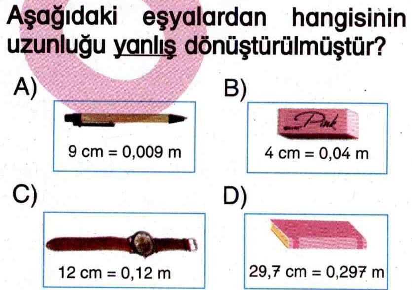 Uzunluk birimleri ile ilgili soru