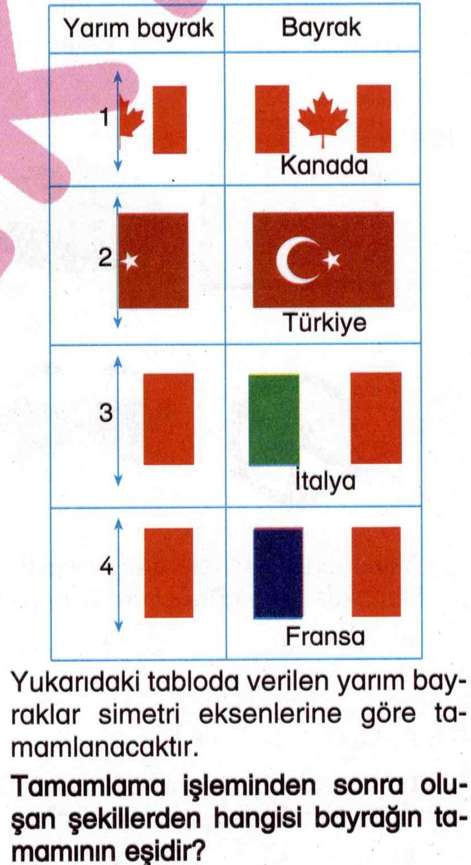 Yarım bayrakların simetri eksenine göre tamamlanması ile ilgili soru