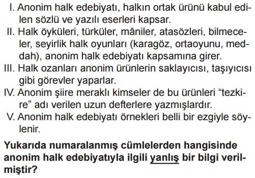 Anonim Halk şiiri Online Test Soruları çöz 10 Sınıf Türk Edebiyatı