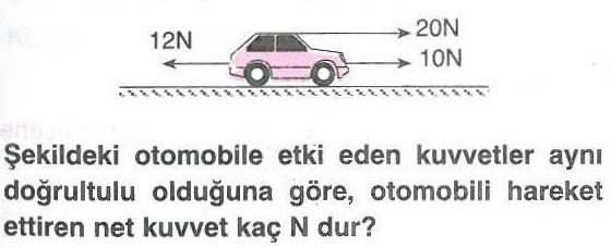 Bir otomobili hareket ettiren net kuvvet ile ilgili soru