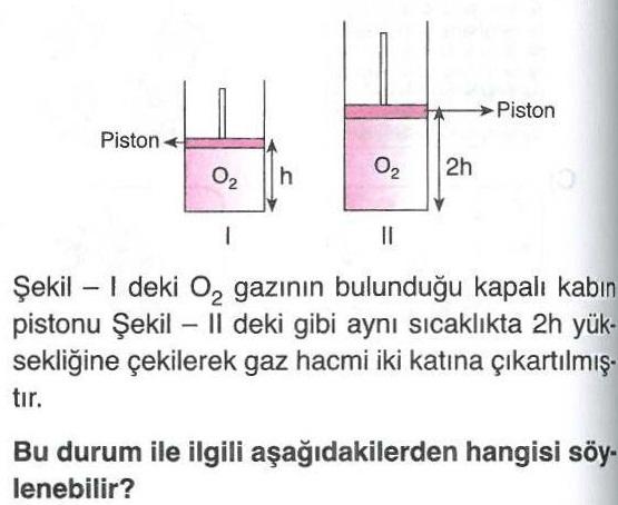 Gaz maddelerin hacmi ile ilgili soru