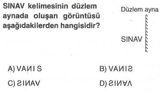 SINAV kelimesinin düzlem aynadaki yansıması ile ilgili soru
