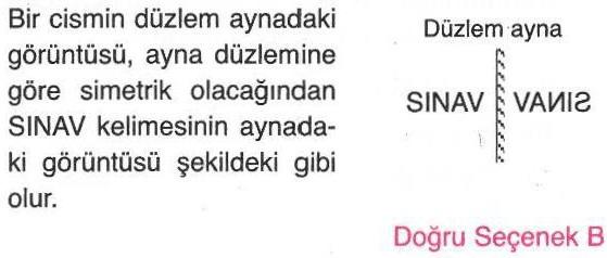 SINAV kelimesinin düzlem aynadaki yansıması ile ilgili sorunun cevabı