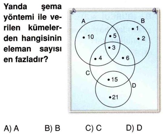 yanda şema yöntemi ile verilen kümelerden hangisinin eleman sayısı fazladır